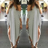 White Striped Irregular Asymmetric Shoulder Homecoming Party Boat Neck Short Sleeve Maxi Dress