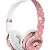 Golden Micro Hearts Over Pink Full-Body Skin Kit for the Beats by Dre Solo 3 Wireless Headphones