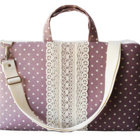 "15"" Macbook or Laptop bag with detachable shoulder strap and handles- Polka dots in purple"