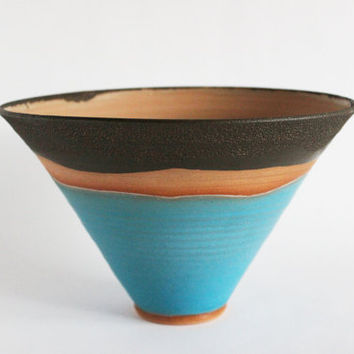 Decorative landscape bowl, turquoise vessel, aqua and brown crackle pottery vase