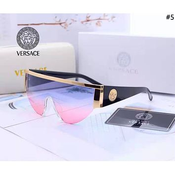 Versace 2019 new women's retro large frame connected polarized sunglasses #5