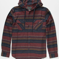 Valor Cancun Nights Mens Hooded Flannel Shirt Burgundy  In Sizes