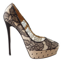 VALENTINO shoe platform pump nude with exquisite black lace NW 39 9 runs small