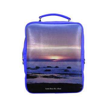 Blue And Purple Sunset Back Pack Square Backpack