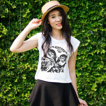 Tumblr Graphic Tees Crop Tops Owl TShirt Tank Top Teen Girl Gifts Hipster Clothing
