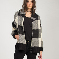 Oversized Deep V Plaid Cardigan - M/L