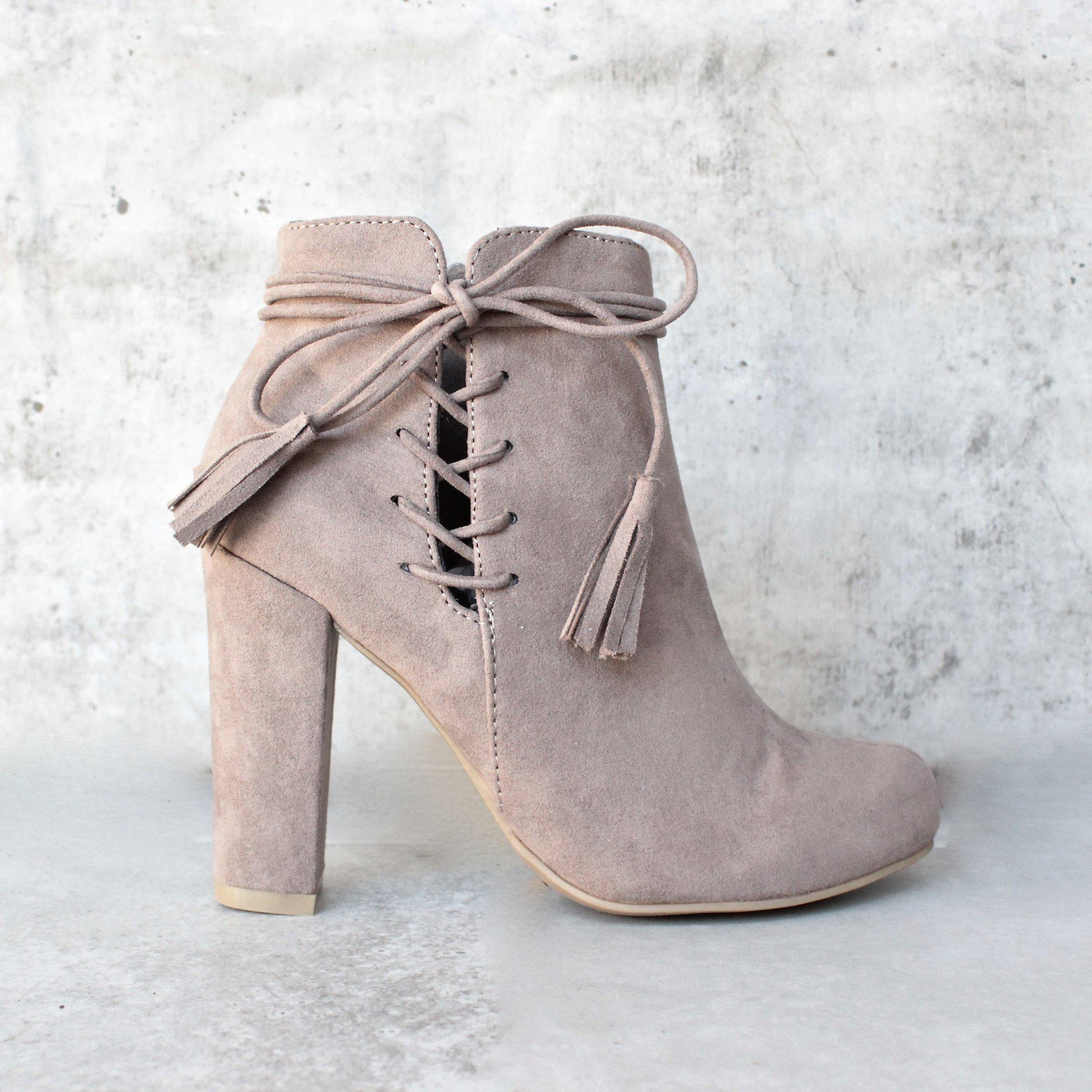 3be585477d6f tassel lace up side ankle boots - taupe from shophearts | Epic