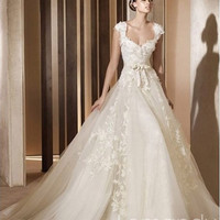 high quality princess tulle wedding gown with straps zipper back chapel train