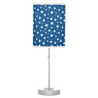 Stars table lamp for kids - dark blue and white