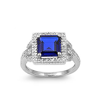 925 Sterling Silver CZ Embraced Princess Cut Simulated Sapphire Ring 11MM
