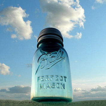 Antique Blue Ball Perfect Mason Jar Solar by CreativeCorksNMore