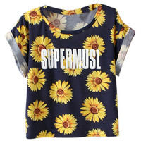 ROMWE Sunflower Print Rolled-cuffs T-shirt