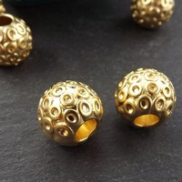 Large Weight Round Circle Dotted Detail Barrel Beads - 22k Matte Gold Plated Brass - 2pc