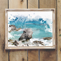 Painted Ocean Photography Printable Wall Art Coastal Decor Beach Decor Instant Download 8x10 11x14 Teen Room Dorm Room Wall Art