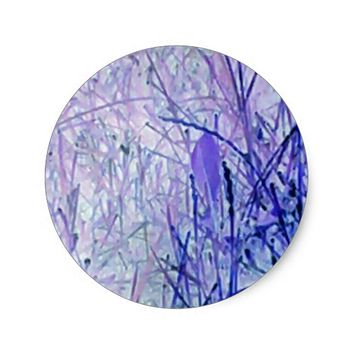 LAVENDER ABSTRACT CLASSIC ROUND STICKER