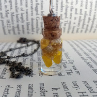 Real Flower Necklace - Yellow Flower Necklace - Hippie Jewelry - Bohemian Jewelry - Glass Bottle with Cork -Miniature Bottles -Vial Necklace