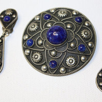 Vintage Silver Blue Lapis Brooch Earring Set MKD ITALY by patwatty