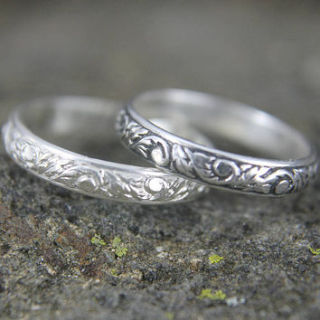 Sterling Silver Art Nouveau Stacking Ring, Embossed Vine Pattern Design, Simple Thin Band, Gift for Him or Her, Mens or Ladies Jewelry