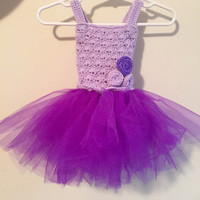 Crochet Baby and Toddler Purple Tutu Dress