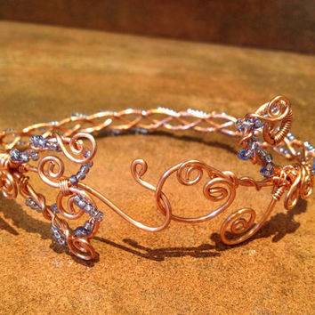 Blue Wire Wrap Anklet