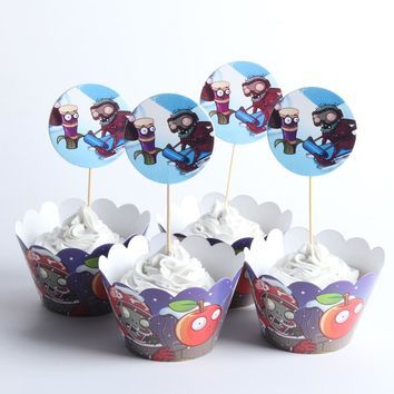 24pcs/lot Plants VS. Zombies Paper Cupcake Wrappers Toppers For Kids Party Birthday Decoration Cake Cups(12 wraps+12 topper)