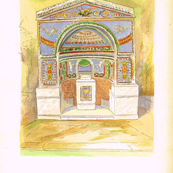 Pompeii Decoration -  FOUNTAIN FROM ALLEY OF THE SCIENJATI -  Chromo - 1924