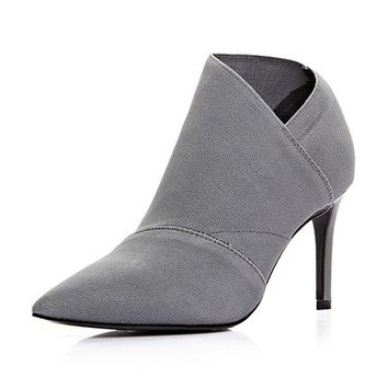 Ankle boot microfibers Pointed high-heeled One foot stirs the bullet Stretch the women's shoes