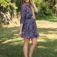 Perfect In Paisley Tunic/Dress - Navy/Multi