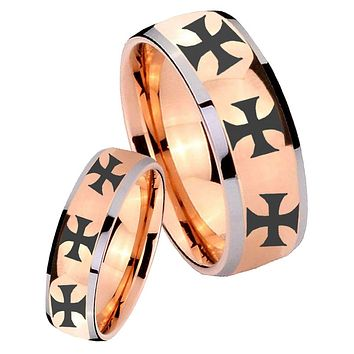 His Hers Rose Gold Dome Multiple Maltese Cross Two Tone Tungsten Wedding Rings Set