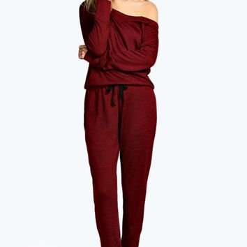 Sandy Slash Neck Long Sleve Lounge Jumpsuit