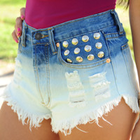 High On Life Shorts: Denim/White | Hope's