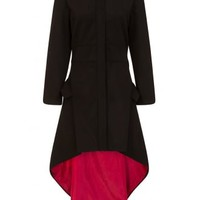 Necessary Evil Medea Red Lined High-Low Gothic Coat | Attitude Clothing
