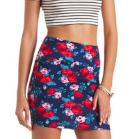 Floral Print Bodycon Mini Skirt by Charlotte Russe - Navy Combo