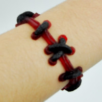 Frankenstein Red and Black Stitch Bracelet FX Wristband Metal