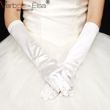 Free Shipping 2017 In Stock Ivory White Long Satin Finger Drape Bride Wedding Gloves Bridal Gloves Accessories New