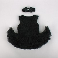 Pinkbabi Baby Rompers 2PCs per Set Black Baby Girl Tutu Dress Romper Headband for 0-12Months Free Shipping