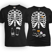 Pregnant Halloween Costume Couple Clothes Expecting Announcement Shirt Skeleton T Shirt Maternity Outfits Mom To Be New Dad Gift MAT-21-166