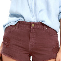 Billabong Highway Washed Marsala Red Distressed Denim Shorts