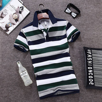 Summer Men Plus Size Korean Slim Stripes Short Sleeve Tops Men's Fashion T-shirts [6544331331]