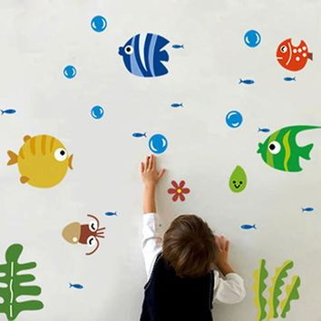 Lovely Fish Wall Stickers For Kids Child Living Room Decorating Kids Room Wall Stickers Nursery Home Decals Poster