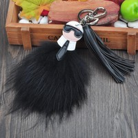 Fluffy Genuine Fox Fur Karl Pompom Monster Bag Bugs Charm Keychain Plush Key Ring Leather Tassel Pom poms Key chain F386B