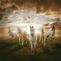 Five Horses Oil Painting Coloring By Number Home Decor DIY Hand Painted Wall Pictures