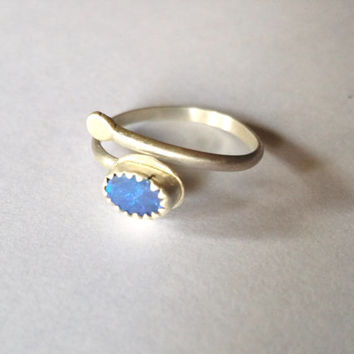 Trending Midi or Middy ring sterling silver opal and adjustable size 2 up to 6