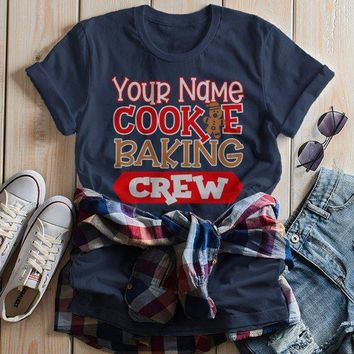 Women's Personalized Christmas T Shirt Cookie Baking Crew Matching Xmas Outfit Custom Graphic Tee