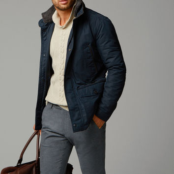 NAVY PARKA WITH MERINO COLLAR - Essentials - MEN - United States of America / Estados Unidos de América