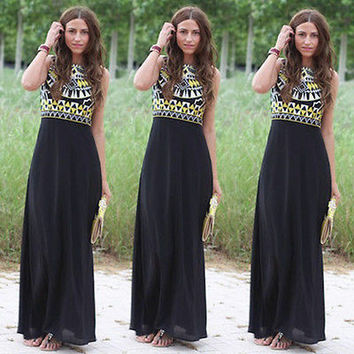 New Women Summer Dress Boho Long Maxi Chiffon Dresses Sleeveless Patchwork Vestidos