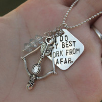 Ashe, The Frost Archer Inspired by League of Legends Quote Necklace with Bow and Arrow Charm