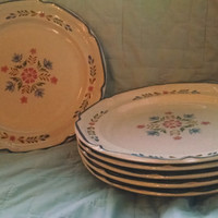 1980s American Patchwork Dinner Plate by International Stoneware- Pink and Blue Flowers
