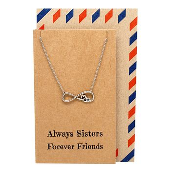 Chelsea Infinity Necklace, Sister Jewelry with Sister Quotes Greeting Card