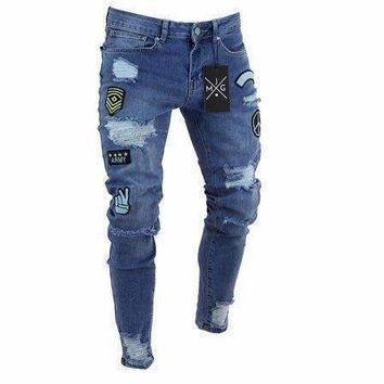 Mens Jeans Stretchy Ripped Skinny Biker Jeans Cartoon Pattern Destroyed Taped Denim Pants